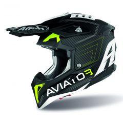 Airoh Helmet Aviator 3 Primal Carbon 3K yellow matt