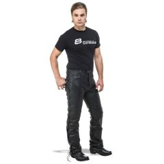 Sweep Desperado Leather jeans with laces, black