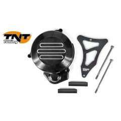 TNT Flywheel & sprocket cover, Black/Carbon-style, Derbi Senda